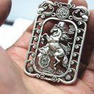Antique white copper double-sided horse (lucky word). Rectangular lucky necklace pendant.