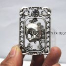 Antique white copper double-sided ox. Rectangular lucky necklace pendant.