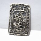 Antique white bronze double-sided dragon. Rectangular lucky necklace pendant.