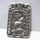 Vintage white bronze double-sided (12 zodiac) rat. Lucky necklace pendant