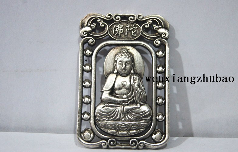 Retro white bronze double-sided lotus - amitabha (pendant). Talisman - lucky necklace pendant.