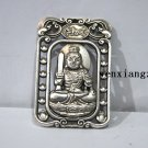 Archaize white copper double - faced lotus - interactive Buddha (pendant). Necklace pendant