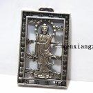 Antique white copper double - manjusri (pendant). Talisman necklace pendant.