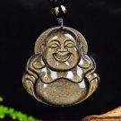 .Hand-carved natural stone, maitreya (laughing Buddha), talisman necklace pendant.
