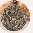 Hand-carved natural stone, grass dragon (mythical wild), talisman necklace pendant