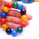 Natural red blue black green agate bead, 15.7 mm 13 beads. Rubber bands form an attractive bracelet.