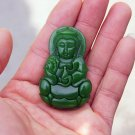 Hand-carved Mongolian jade guanyin bodhisattva, amulet - necklace pendant.