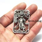 White copper double-faced ancient military strategist guan gong. Talisman necklace pendant.