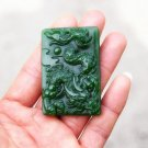 .Hand-carved Mongolian jade dragon dance, rectangular talisman necklace pendant.