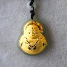 Gold Mosaic and tian yu, long life lock - maitreya bodhisattva. Talisman. Necklace pendant