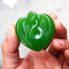 .Hand-carved (jasper) heart-shaped 88 pendant. Lucky - necklace pendant.