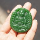 .Hand-carved Mongolian jade thousand hands guanyin, elliptical talisman necklace pendant