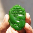 Hand-carved Mongolian jade wishful thinking, oblong auspicious necklace pendant.