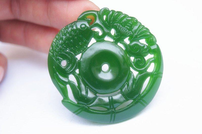 Hand-carved Mongolian jade bamboo goldfish ping, (ping an gao sheng) necklace pendant.