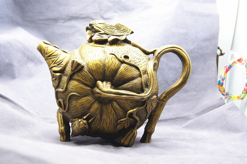 Brass gold-plated pot - teapot (imperial court system). Practical - collection - town house.