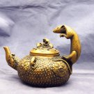 Brass gold-plated jug - teapot (in the year of qianlong). Dragon mouth (rat) - town house.