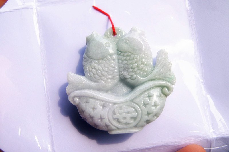 Natural white jade, handmade double-sided carving of ping an Pisces, talisman necklace pendant
