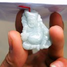 Natural white jade, hand-crafted carved living Buddha, amulet necklace pendant.