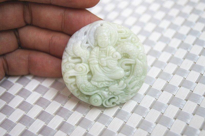 Natural white vote purple jade dragon play guanyin. Talisman necklace pendant.