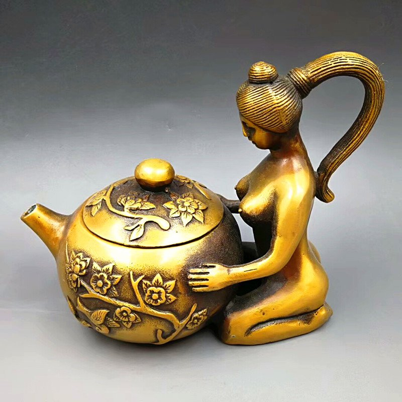 Antique brass gilding - floral print, (beauty) teapot. Wine pot - practical. The town house