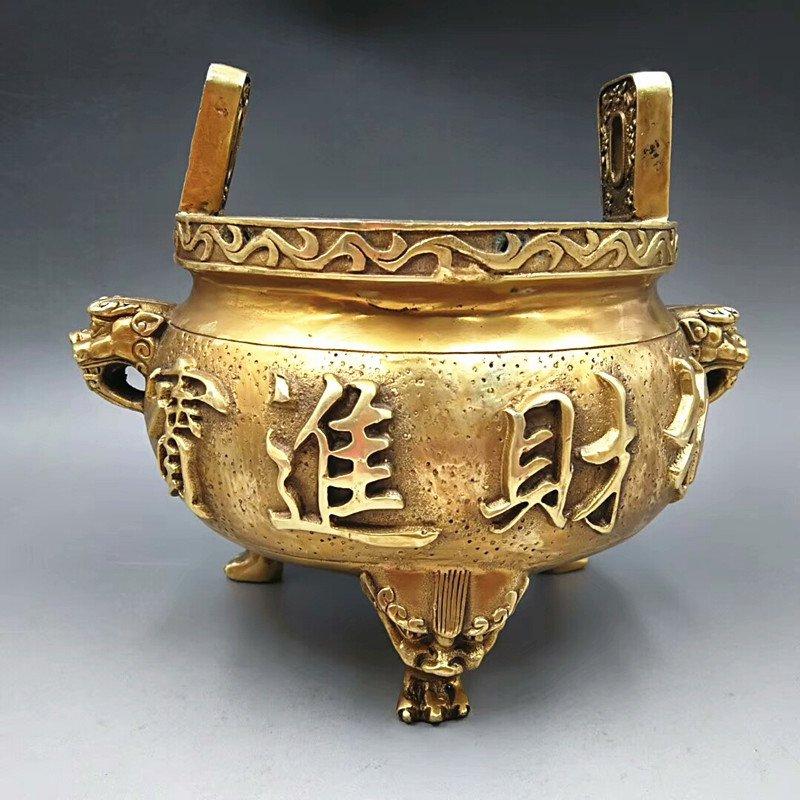 Antique copper gilding. The tiger head binaural polypodium (the qianlong system).