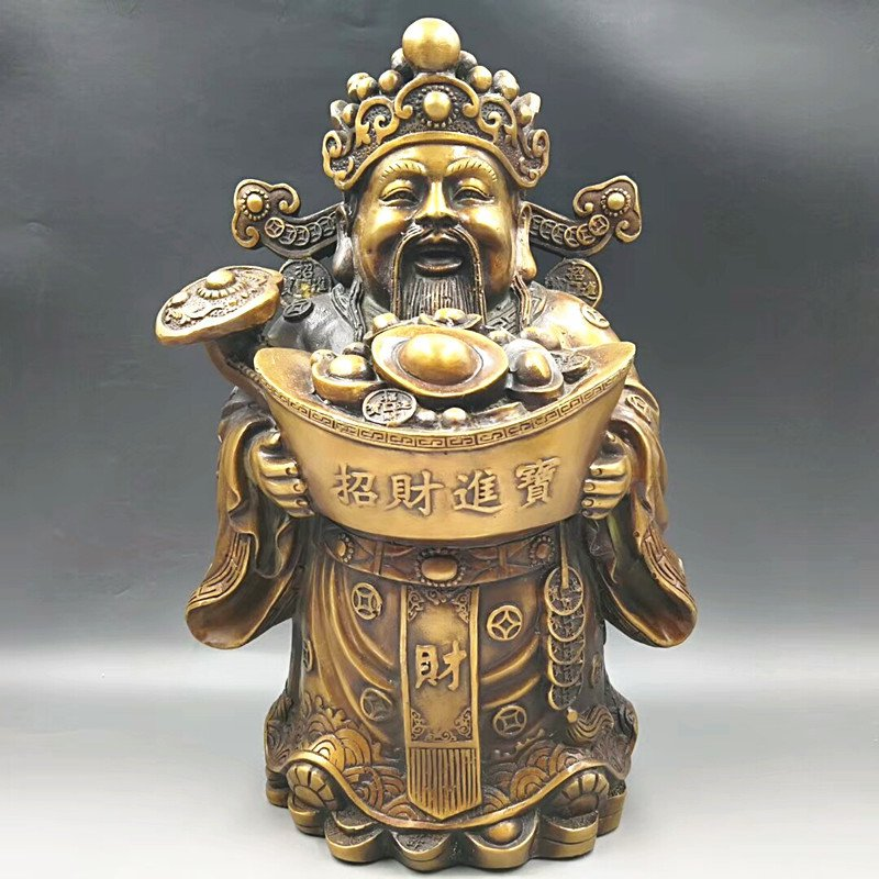 Antique brass fine gold. God of wealth (made in qianlong). The town house furnishings.