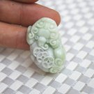 Natural white fly violet green jade pendant, the essence - money. Talisman necklace pendant.
