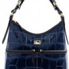 Authentic North South Leather Croco Dooney & Bourke Handbag Purse NAVY BLUE