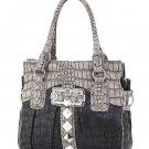 Fancy Rich Croc Embossed Annashons Handbag Dark Blue Gray