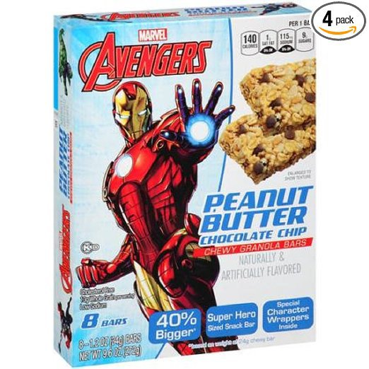 Conagra Foods, Marvel, Chewy Granola Bars, 8 Count, 9.6oz Box (Peanut Butter and Chocolate Chip)