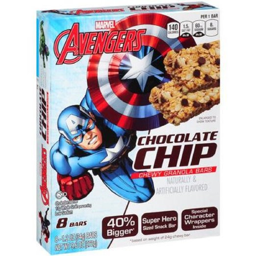 Conagra Foods, Marvel, Chewy Granola Bars, 8 Count, 9.6oz Box (Chocolate Chip)