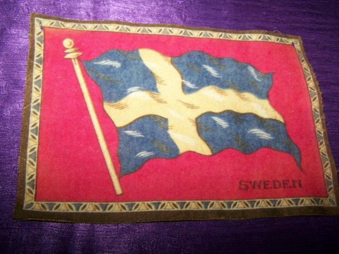 """Antique TOBACCO Flannel Felt 8"""" SWEEDEN FLAG Premium"""