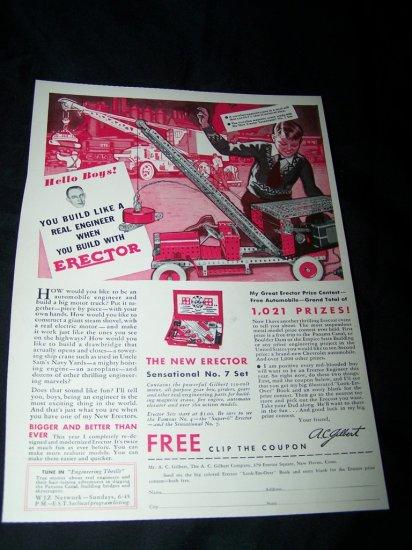 Vintage 1933 GILBERT ERECTOR SET Truck Toy Print Ad