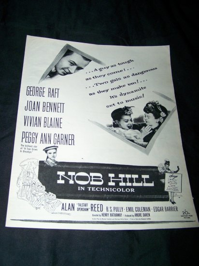 Vintage 1945 NOB HILL George Raft Movie Print Ad