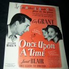 Vintage 1944 ONCE UPON TIME Carrie Grant Movie Print Ad