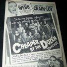 Vintage 1950 CHEAPER BY DOZEN Jeanne Crain Print Ad