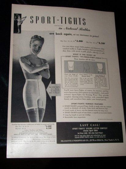 Vintage 1948 SPORT-TIGHTS Underwear Garter Print Ad