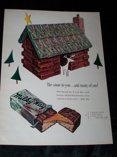 Vintage 1953 MILKY WAY Candy Bar CHRISTMAS Print Ad
