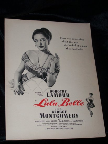 Vintage 1948 LULU BELLE Dorothy Lamour Movie Print Ad
