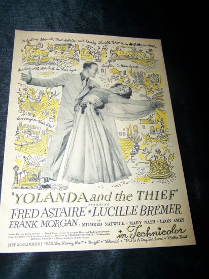 Vintage 1945 YOLANDA THIEF Fred Astaire Movie Print Ad
