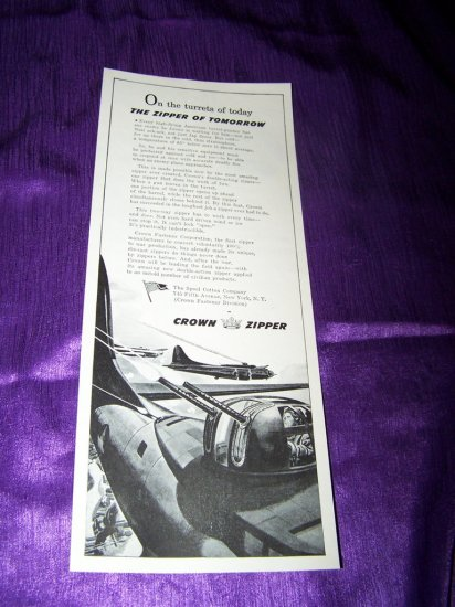 Vintage 1943 CROWN ZIPPER Airplane Fire WW2 Print Ad