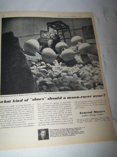 Vintage 1962 General Motors MOON-ROVER Space Print Ad
