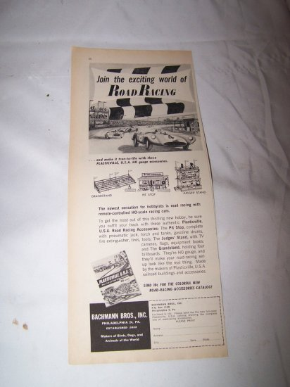 Vintage 1962 Bachmann Bros Car Road Racing Toy Print Ad