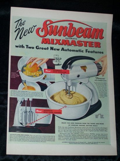 Vintage 1948 SUNBEAM MIXMASTER MIXER Kitchen Print Ad