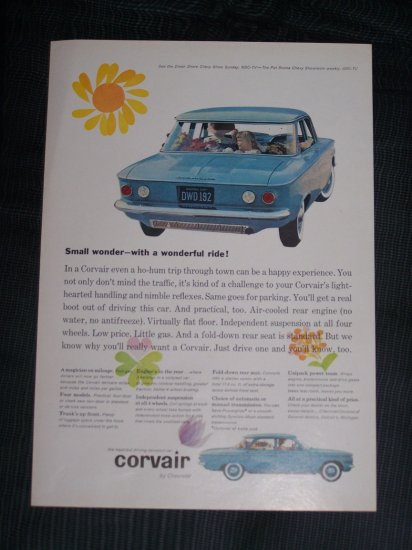 Vintage 1960 CHEVY CORVAIR Flower Power Print Ad