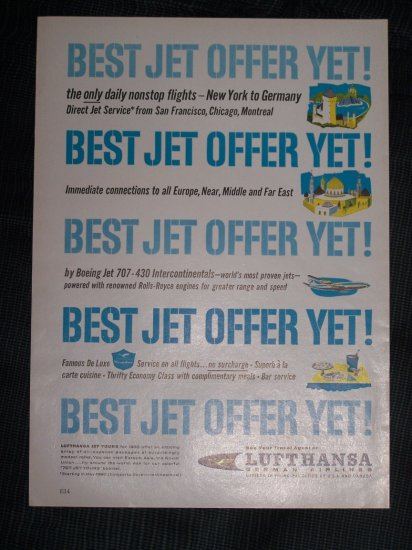 Vintage 1960 LUFTHANSA GERMAN AIRLINE JET Print Ad