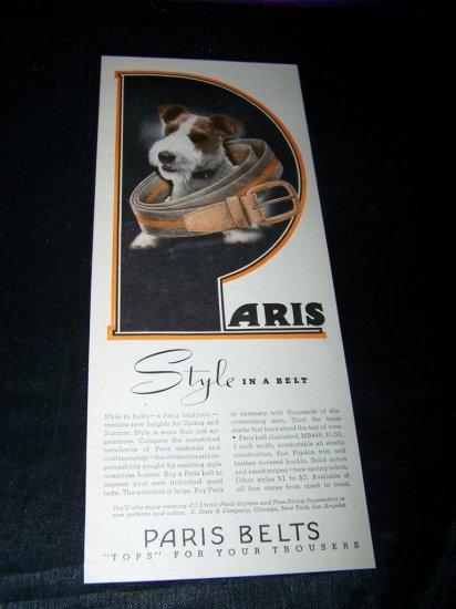 Vintage 1945 PARIS BELT Jack Terrier Russell Print Ad