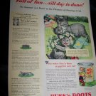 Vintage 1940s PUSS N BOOTS Manx Cat Pet Food Print Ad