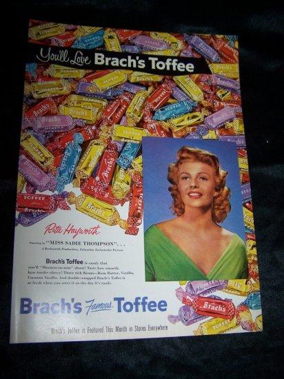Vintage 1953 Rita Hayworth BRACH'S TOFFEE Print Ad