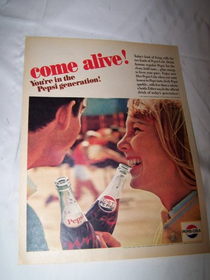Vintage 1964 PEPSI Cola Our Generation Teenage Print Ad